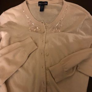 Limited Too Cream Cardigan with Beads and Sequins